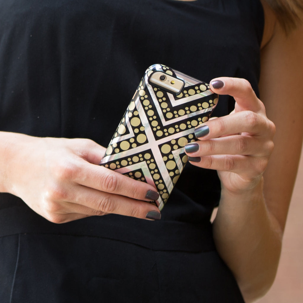 iPhone 6s Tough Metallic Chevron Dot Print - lifestyle angle 1
