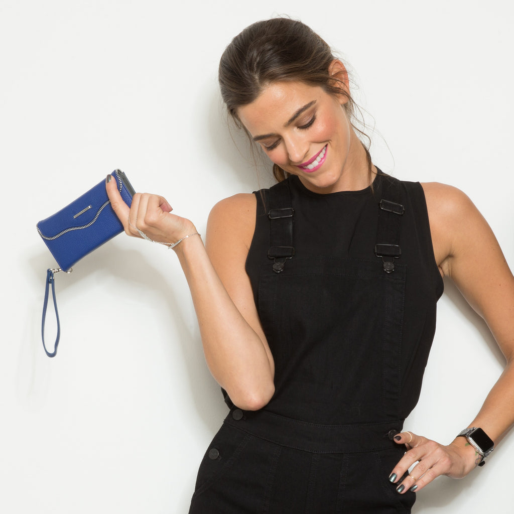 iPhone 6s Plus Cobalt Leather Folio Wristlet - lifestyle angle 2