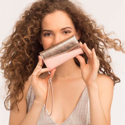 iPhone 6 Plus / 6s Plus / 7 Plus Folio Wristlet - Rose Gold/Blush Leather