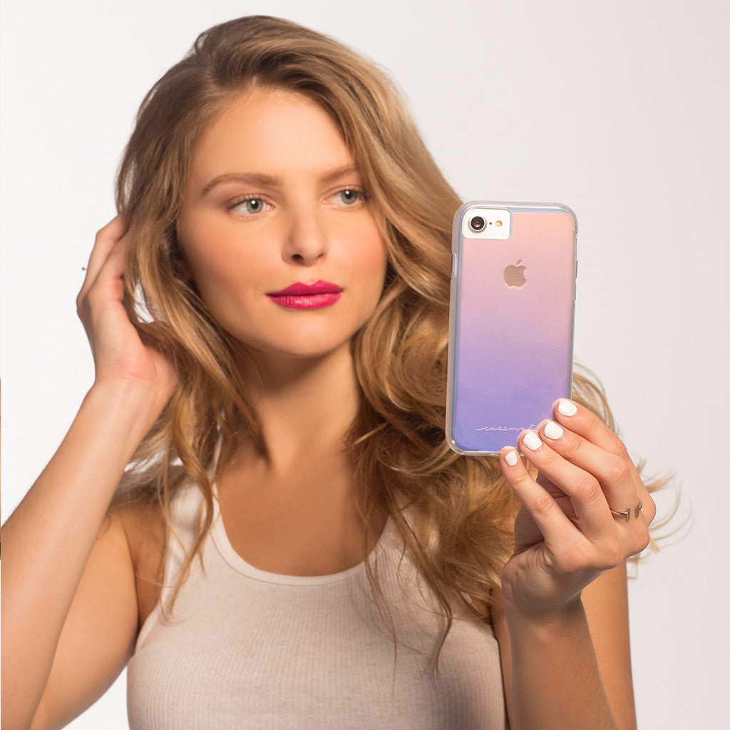 Naked Tough Iridescent iPhone 7 Case Model Selfie