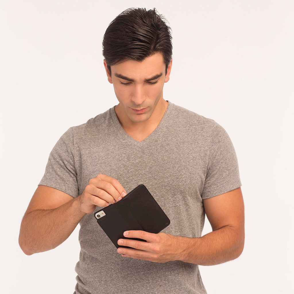 Black Leather Wallet Folio iPhone 7 Plus Model