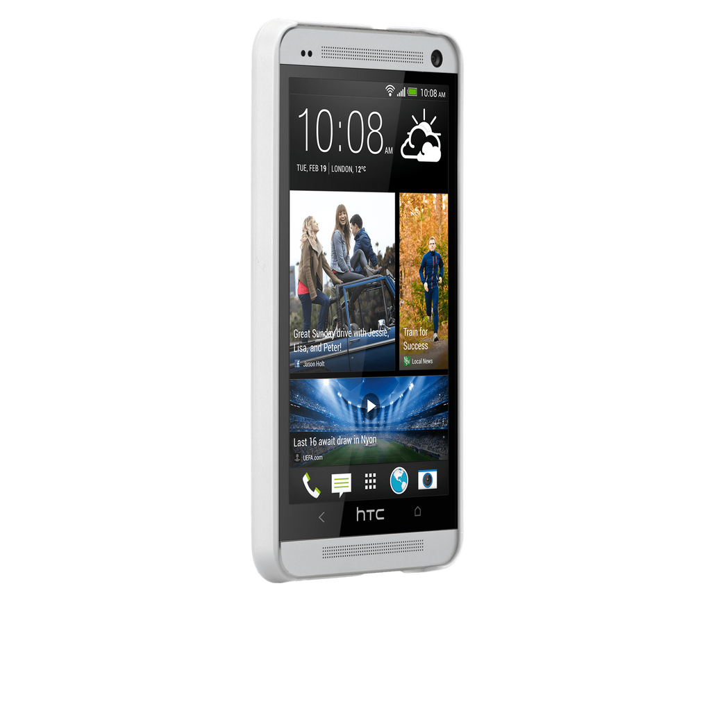HTC One (M7) Glossy White Barely There Case - image angle 2
