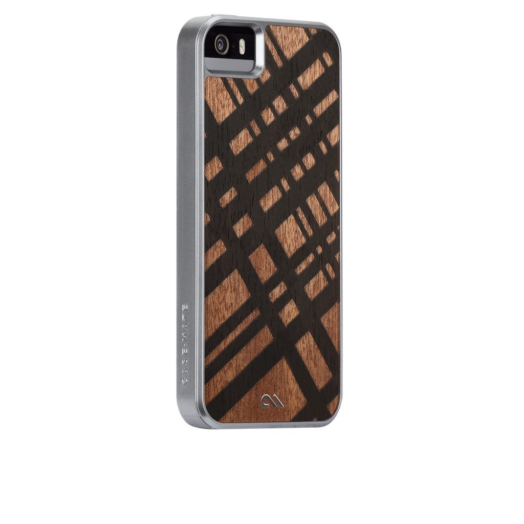 iPhone SE Brown Carved Mahogany Woods Case - image angle 1