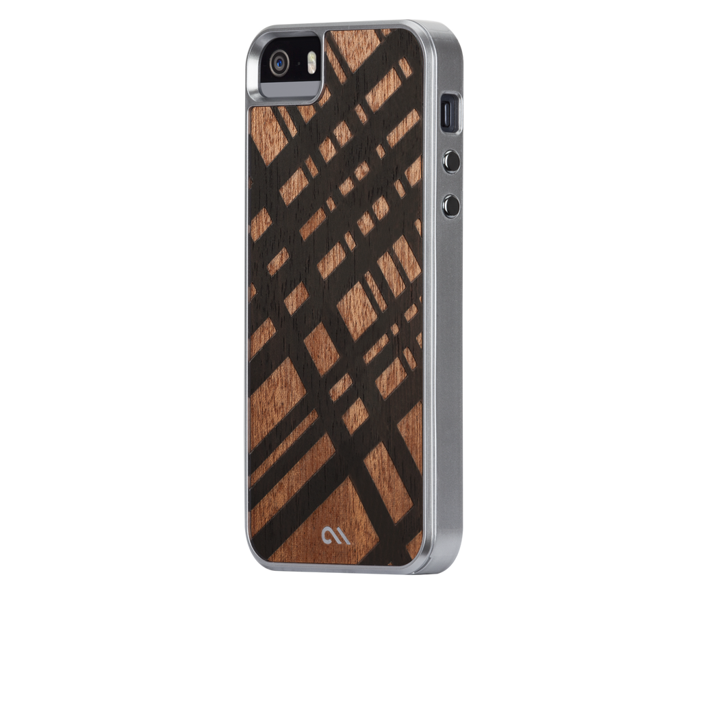 iPhone SE Brown Carved Mahogany Woods Case - image angle 3