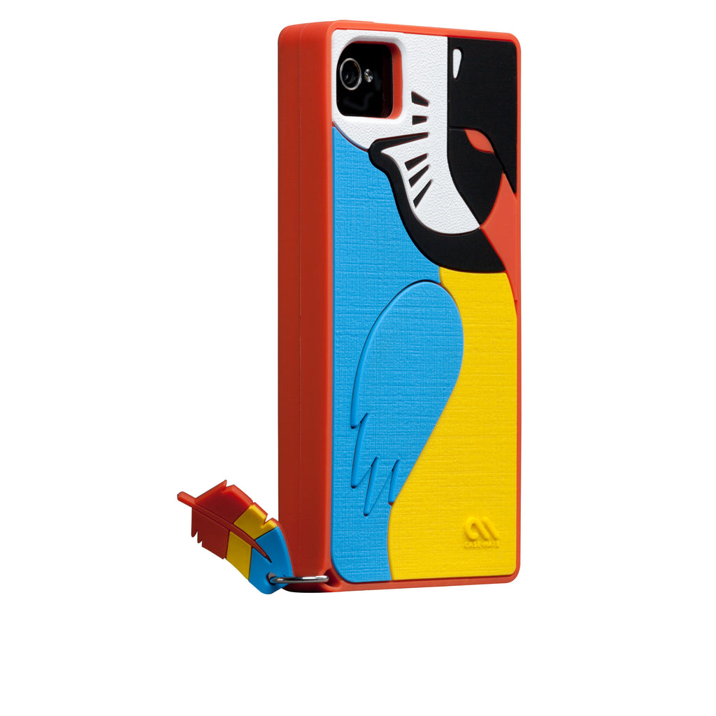 iPhone 4/4s Red Parrot Creatures Case - image angle 1