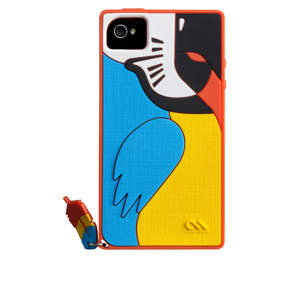 iPhone 4/4s Red Parrot Creatures Case - image angle 7