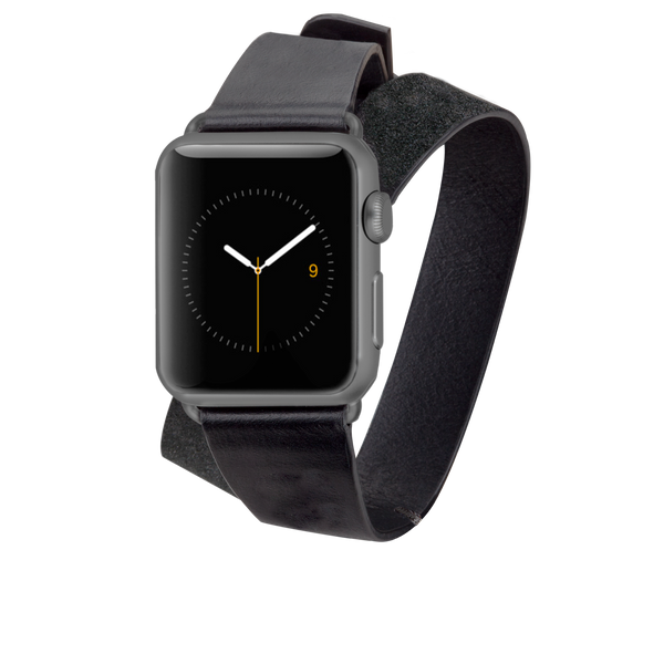 Double Wrap Leather Band - Black