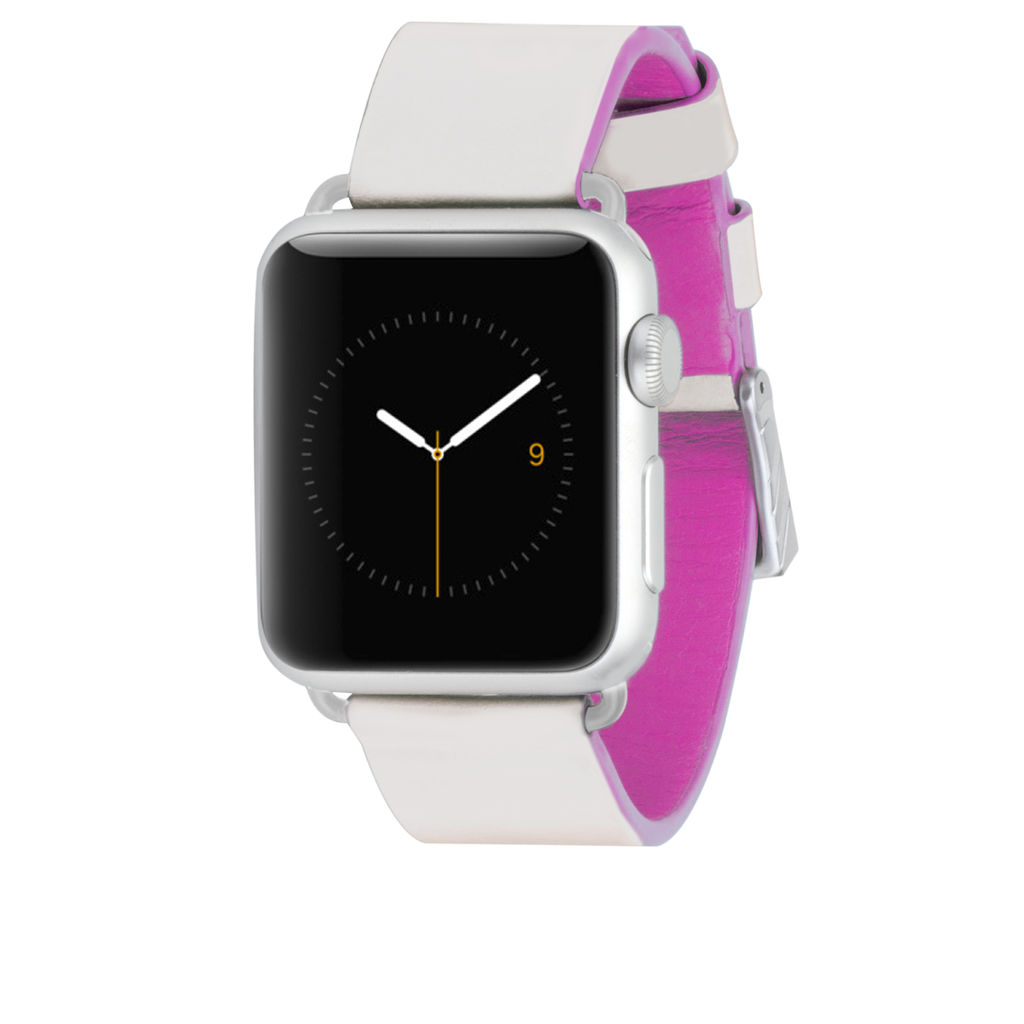 Apple Watch 38mm Ivory & Shocking Pink Edged Leather Band - image angle 2