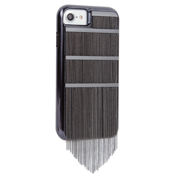 Black Fringed Metal iPhone 7 Case Back Right Angle
