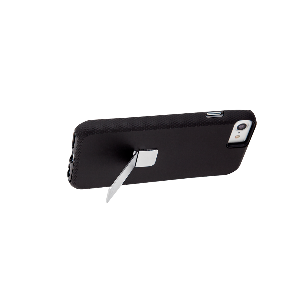 Black And Silver Tough Stand iPhone 7 Case Side