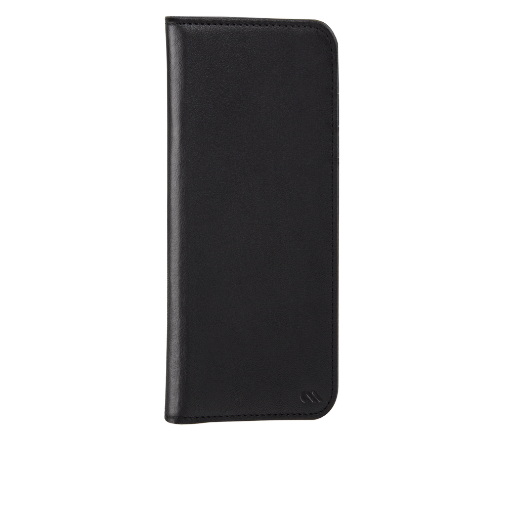 Black Leather Wallet Folio iPhone 7 Front Right Angle