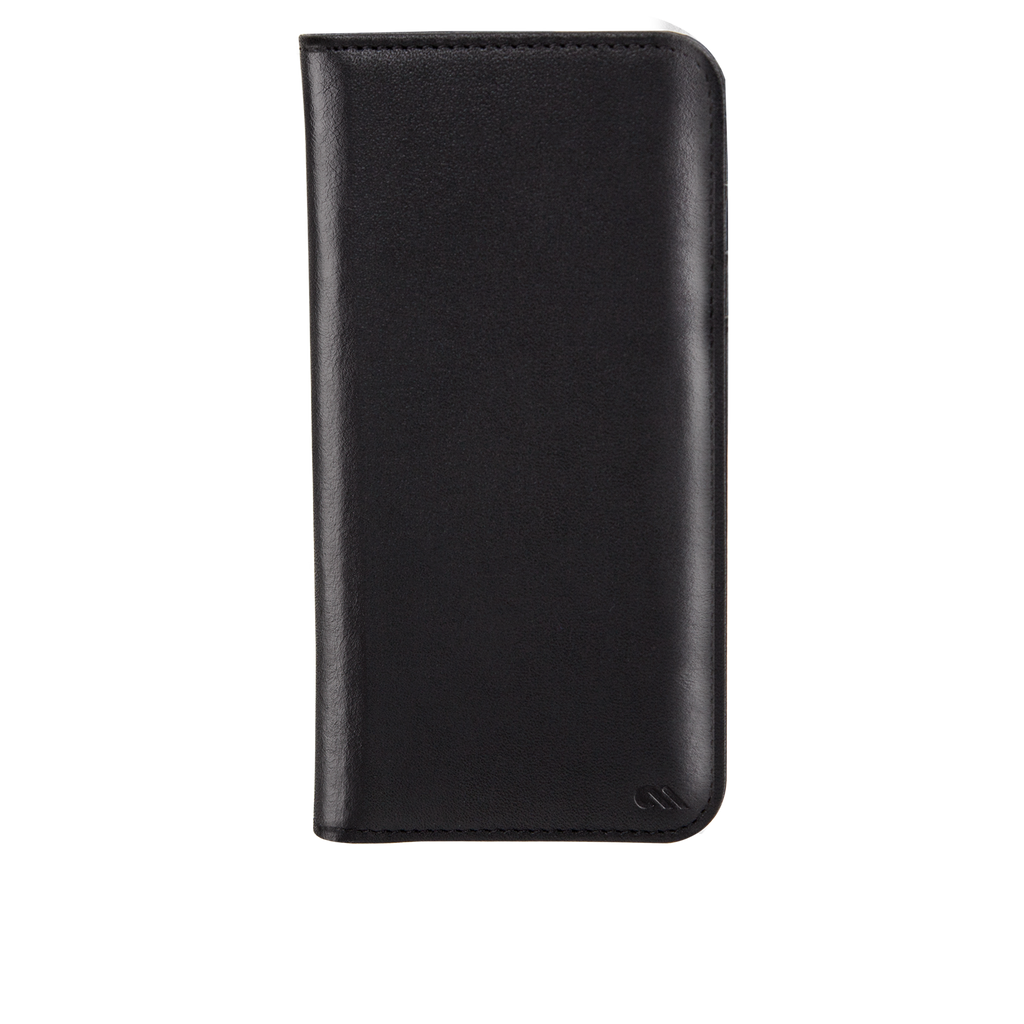 Black Leather Wallet Folio iPhone 7 Case Front