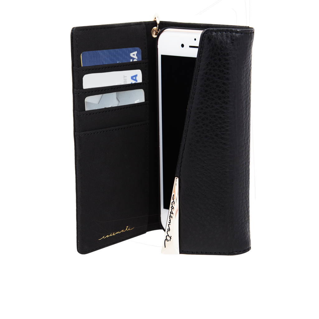 Black Leather Folio Wristlet iPhone 7 Open