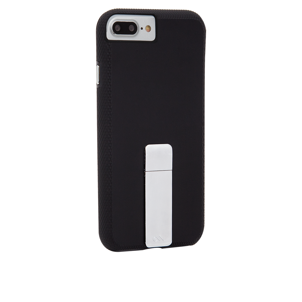 Black And Silver Tough Stand iPhone 7 Plus Case Back Right Angle