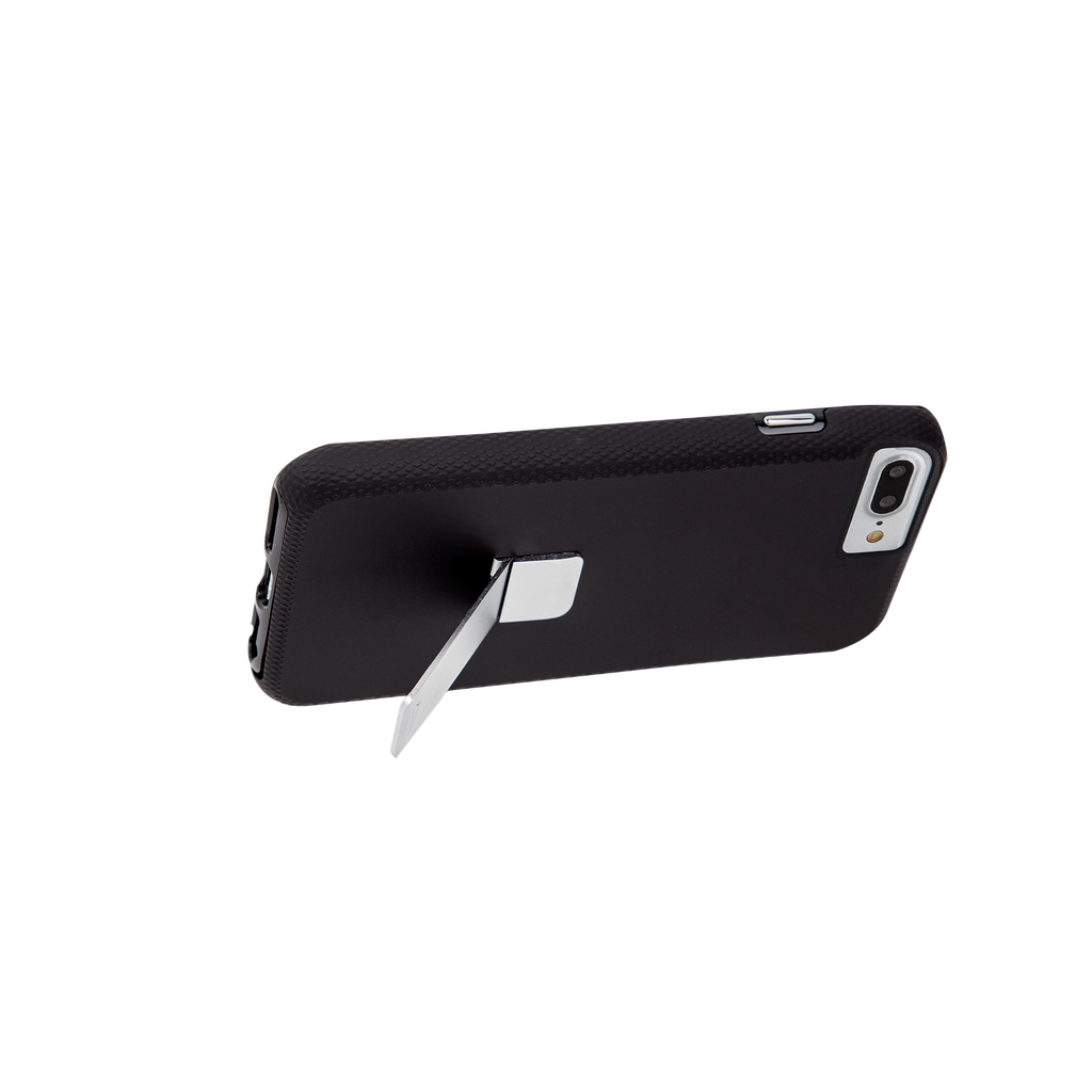 Black And Silver Tough Stand iPhone 7 Plus Case Side