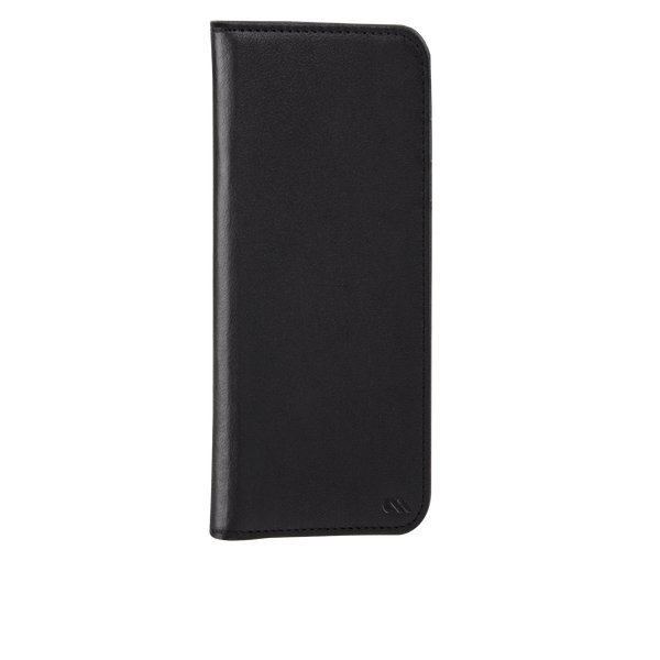 Black Leather Wallet Folio iPhone 7 Plus Front Right Angle