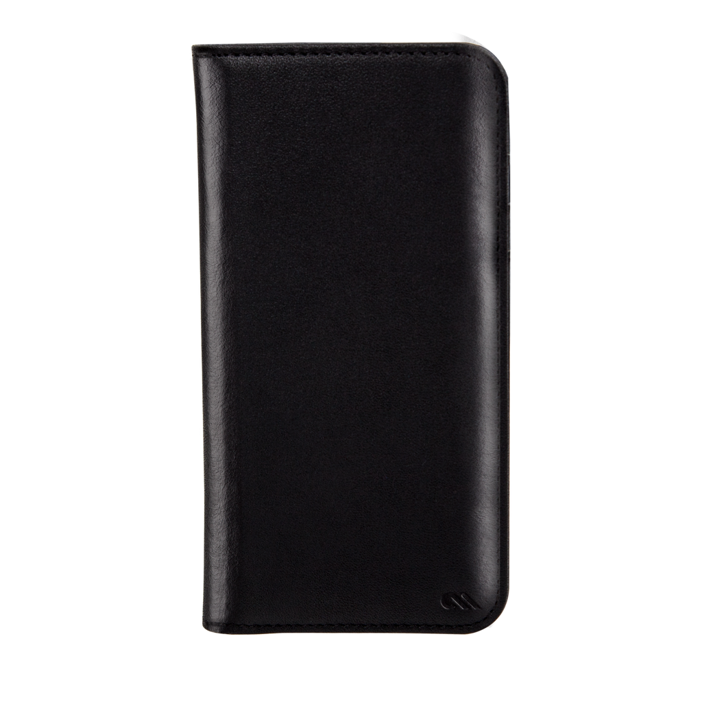 Black Leather Wallet Folio iPhone 7 Plus Front
