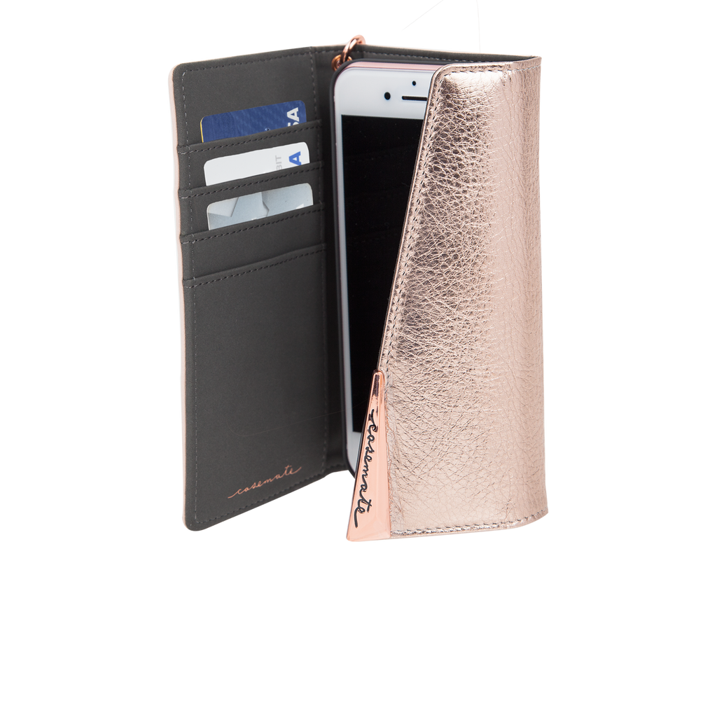 Blush Leather Wristlet iPhone 7 Plus Open