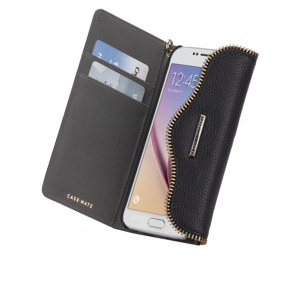 Samsung Galaxy S6 Black Leather Folio Wristlet - image angle 9
