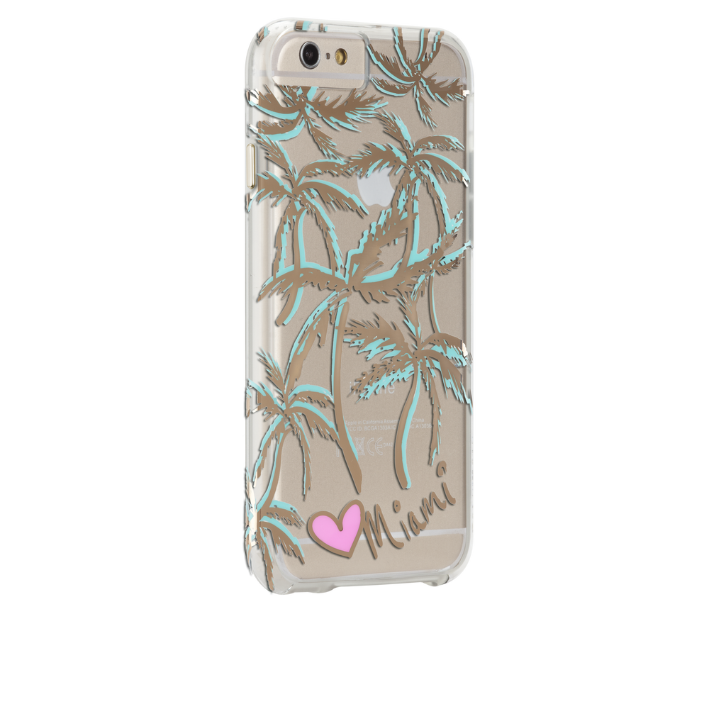 iPhone 6s Plus Clear Naked Tough City Prints - Miami - Palm Case - image angle 1