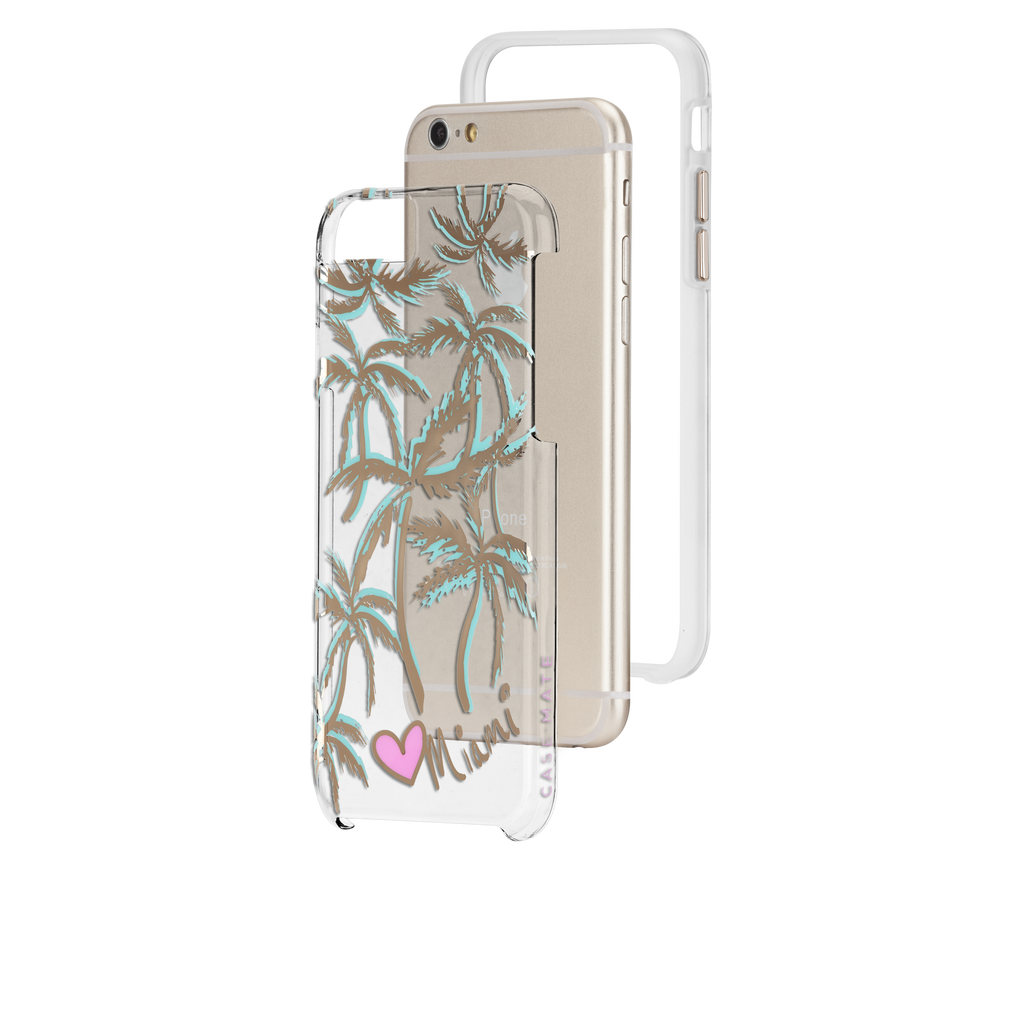 iPhone 6s Plus Clear Naked Tough City Prints - Miami - Palm Case - image angle 8