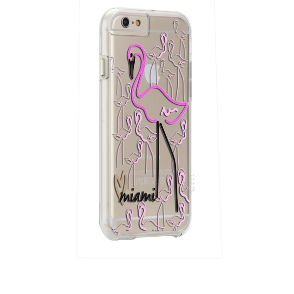 iPhone 6s Clear Naked Tough City Prints - Miami - Flamingo Case - image angle 1
