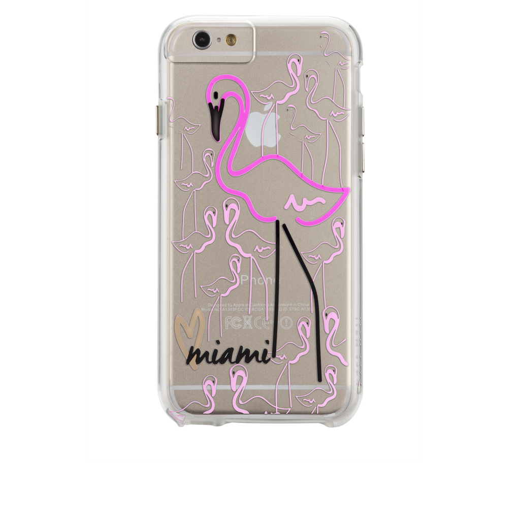 iPhone 6s Clear Naked Tough City Prints - Miami - Flamingo Case - image angle 7