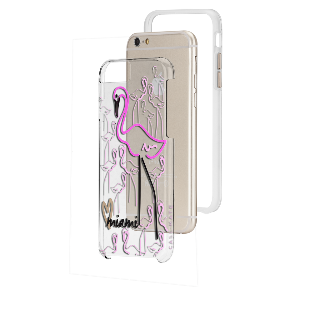iPhone 6s Clear Naked Tough City Prints - Miami - Flamingo Case - image angle 8