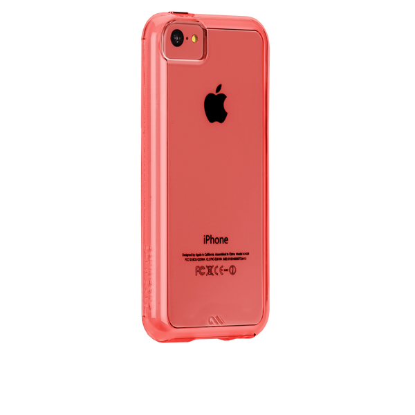 iPhone 5c Clear w/ Coral Bumper Naked Tough Case - image angle 1