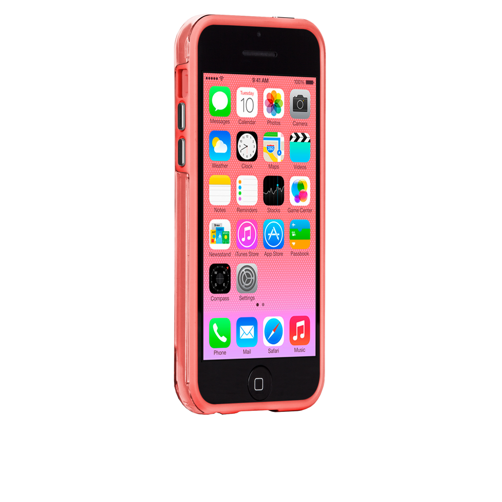 iPhone 5c Clear w/ Coral Bumper Naked Tough Case - image angle 2