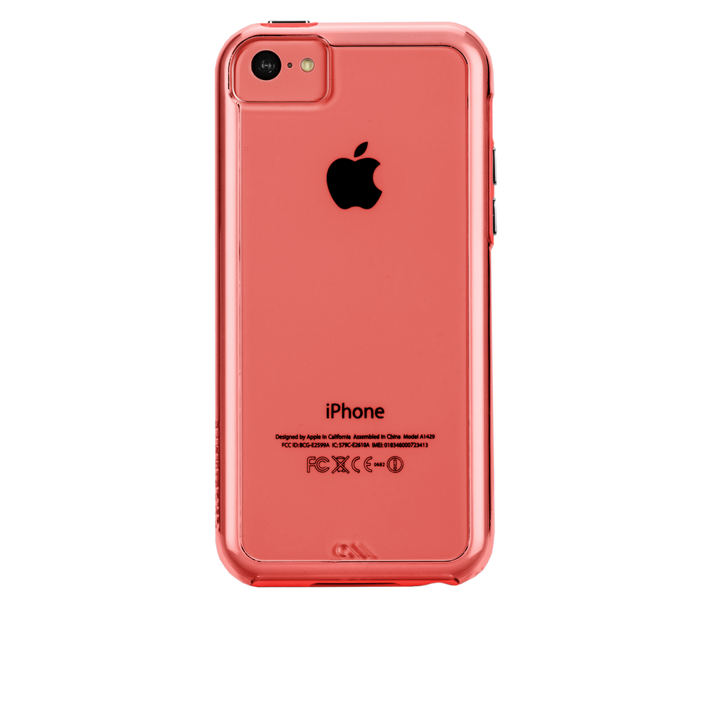 iPhone 5c Clear w/ Coral Bumper Naked Tough Case - image angle 7