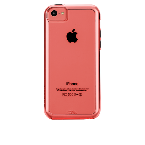 iPhone 5c Naked Tough Case - Clear w/ Coral Bumper