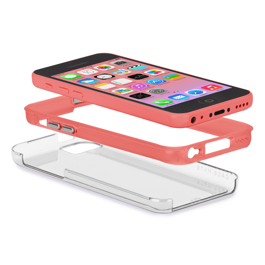 iPhone 5c Clear w/ Coral Bumper Naked Tough Case - image angle 8