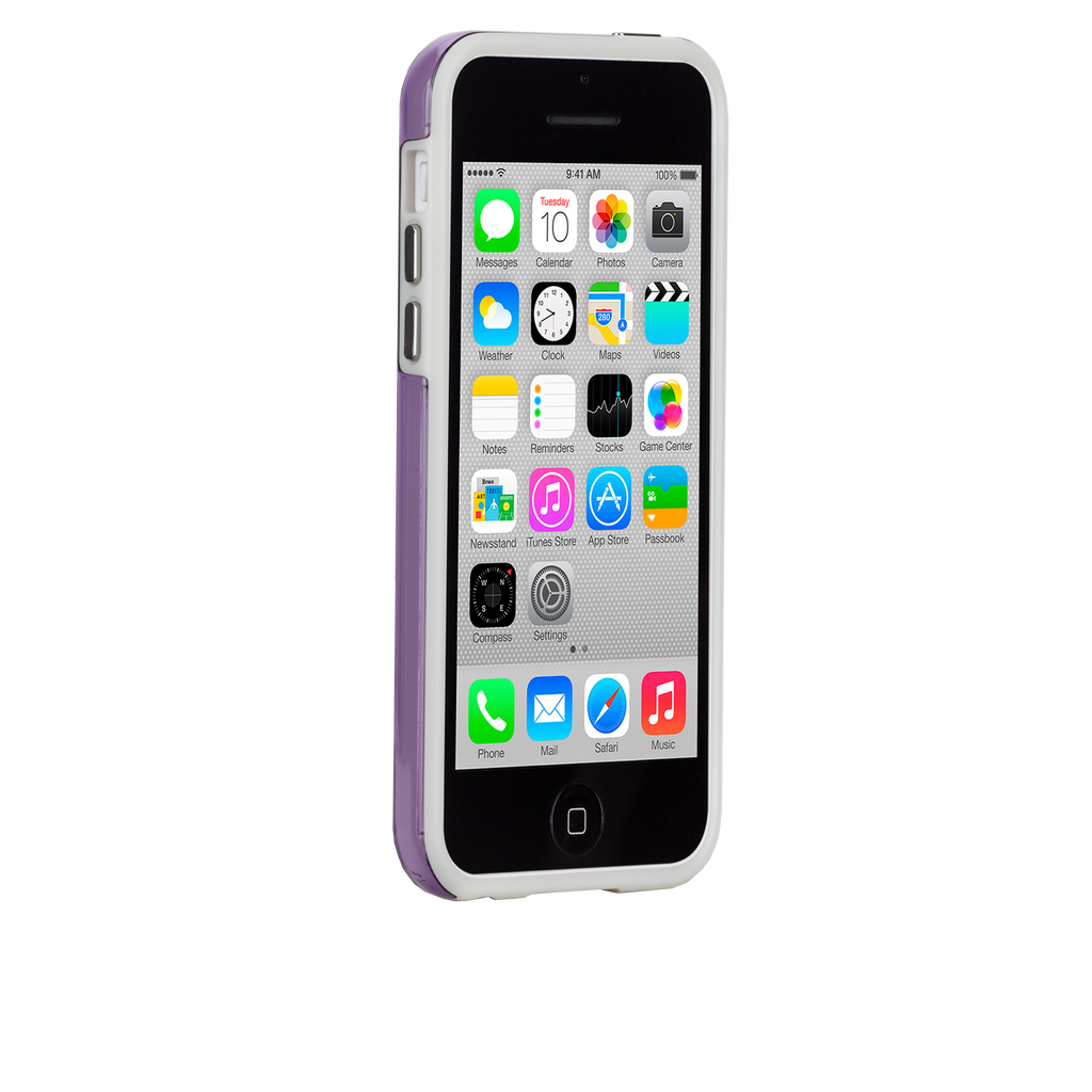 iPhone 5c Purple w/ White Bumper Naked Tough Case - image angle 2