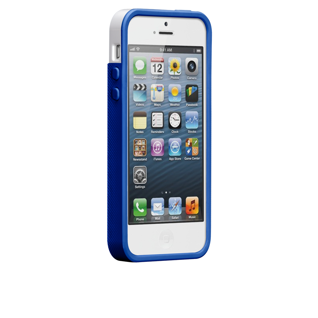 iPhone 5/5s White & Marine Blue Pop! Case - image angle 2