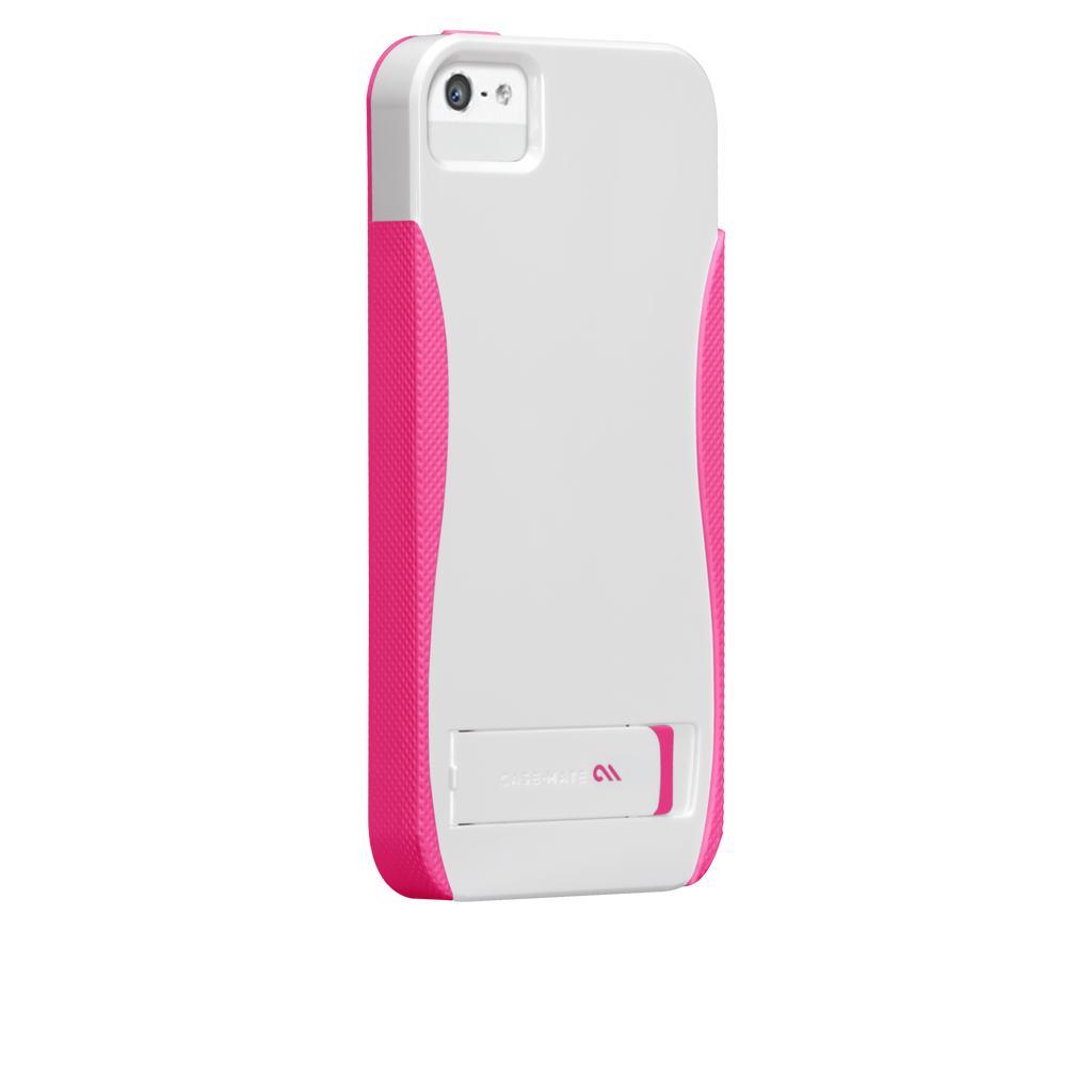iPhone 5/5s White & Neon Pink Pop! Case - image angle 1