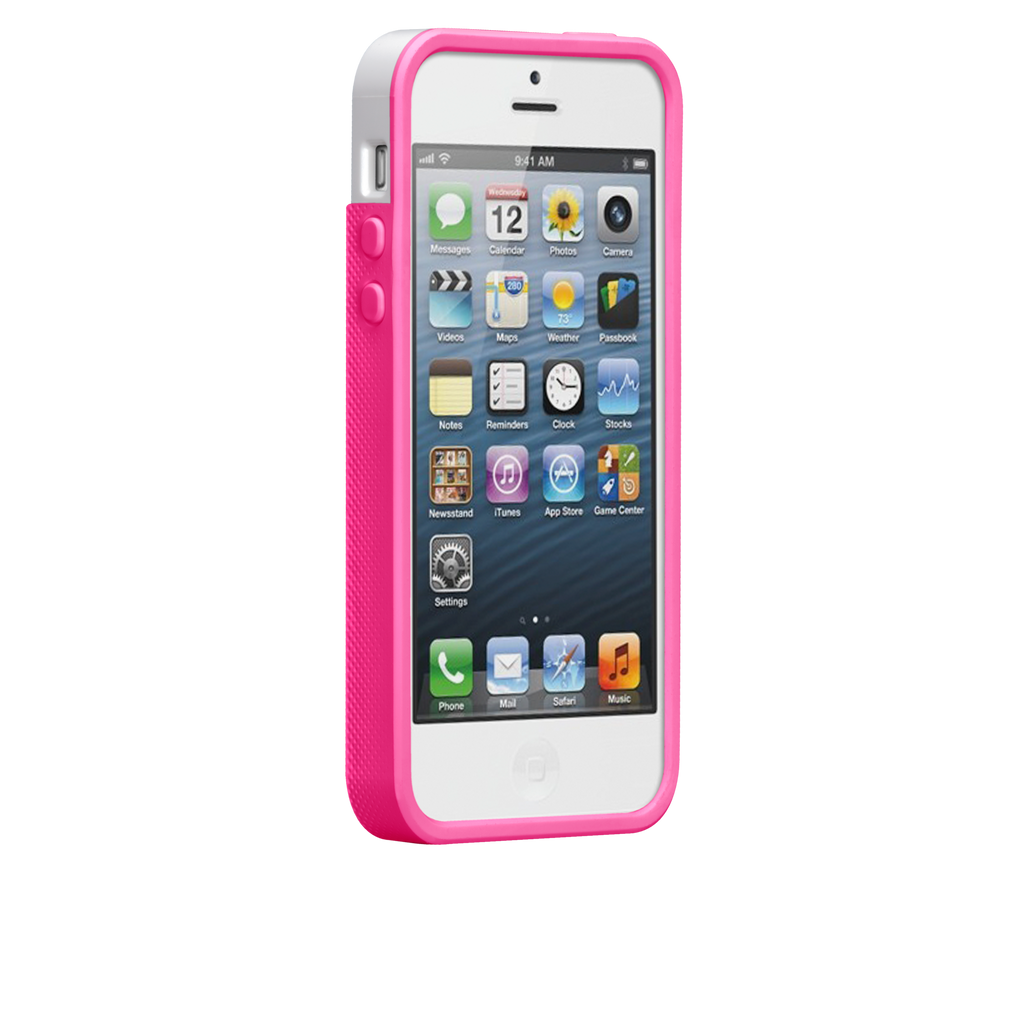 iPhone 5/5s White & Neon Pink Pop! Case - image angle 2