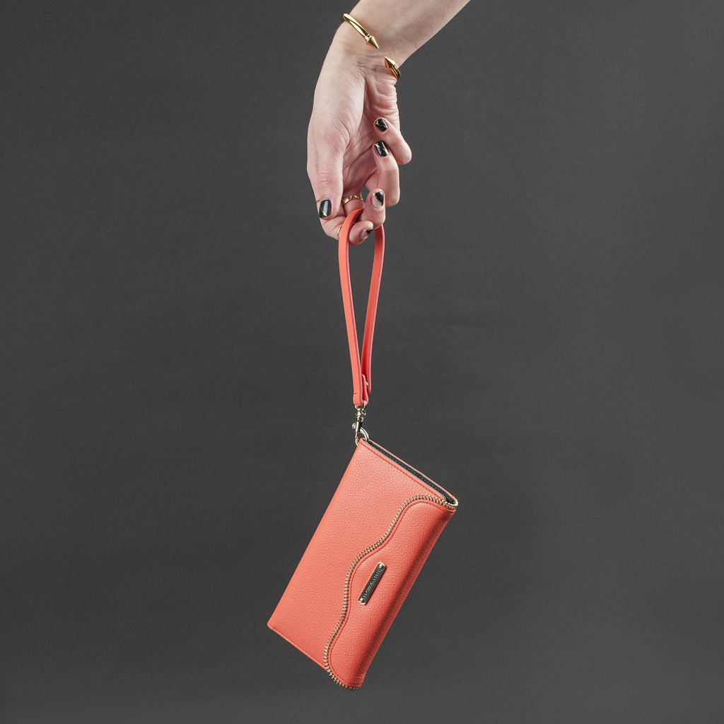 iPhone 6 Plus Coral Leather Folio Wristlet - lifestyle angle 3