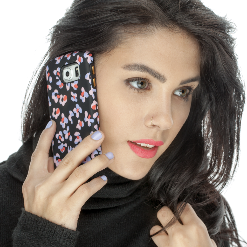 Samsung Galaxy S6 Black Leopard Floral Print CaseTough Print - lifestyle angle 2