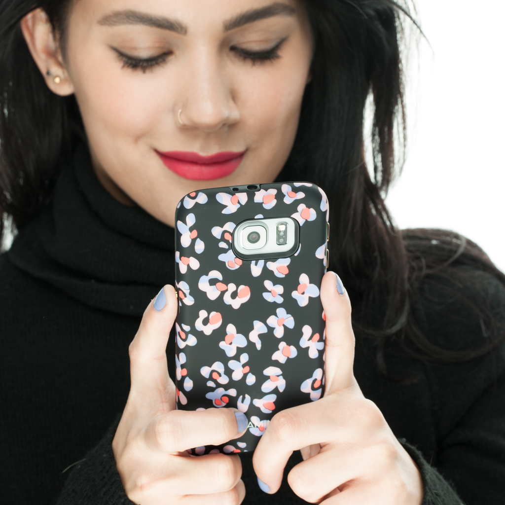Samsung Galaxy S6 Black Leopard Floral Print CaseTough Print - lifestyle angle 3