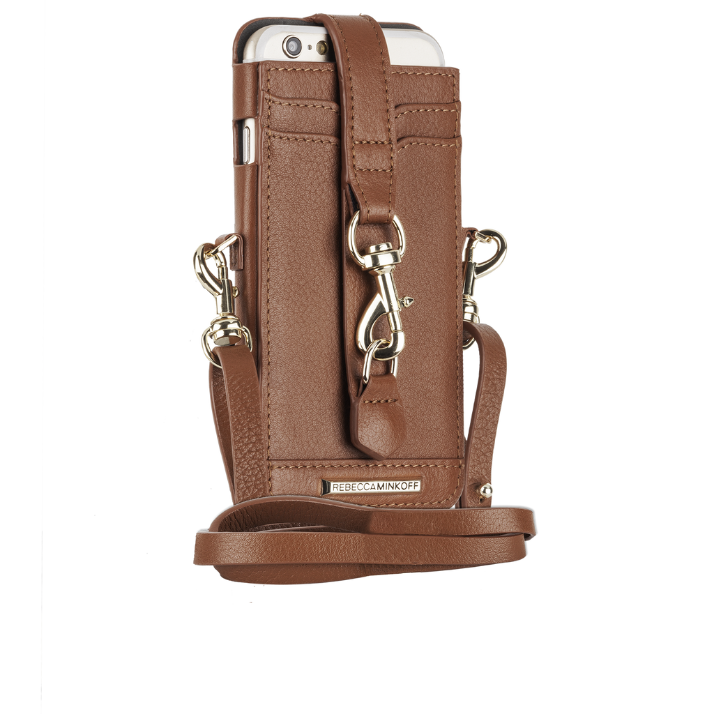 iPhone 6s Almond Crossbody Sleeve with dogclip & crossbody strap - image angle 1