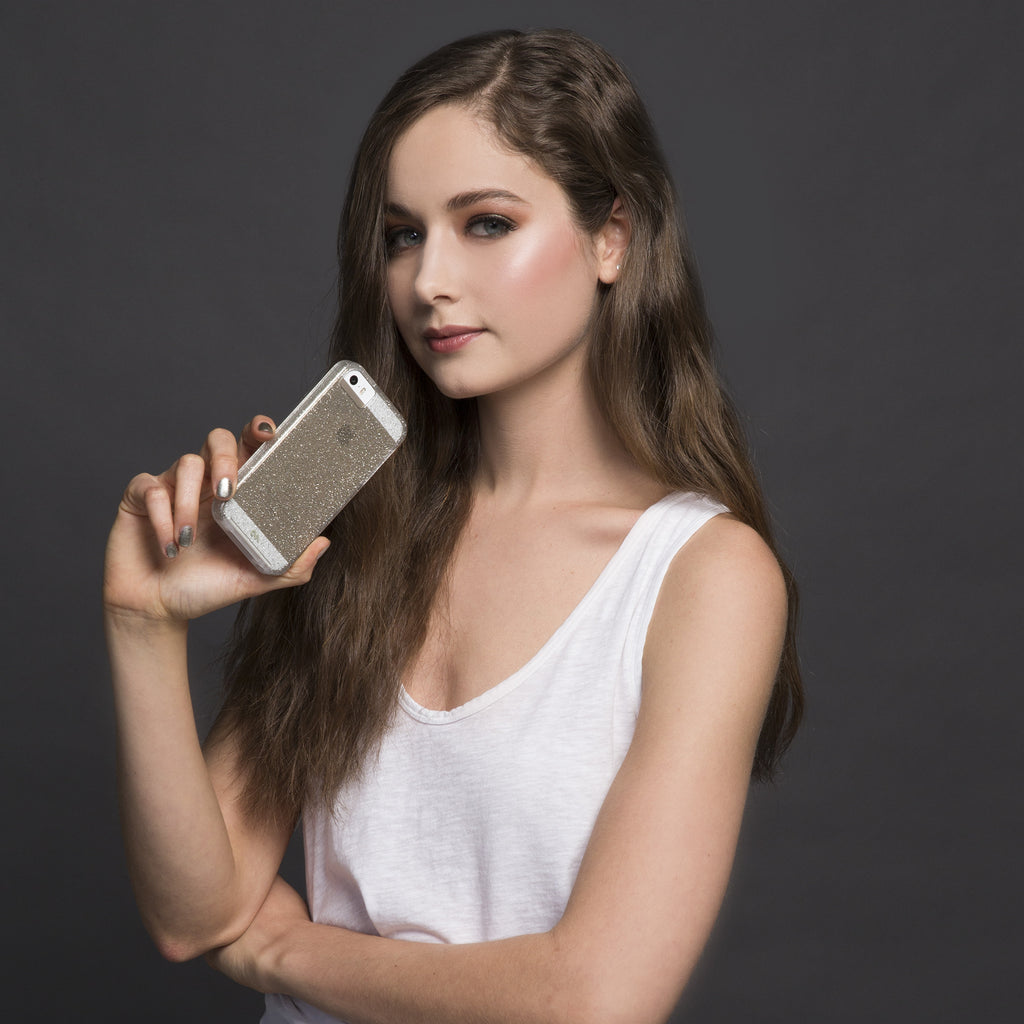iPhone SE Champagne Sheer Glam Case - lifestyle angle 1