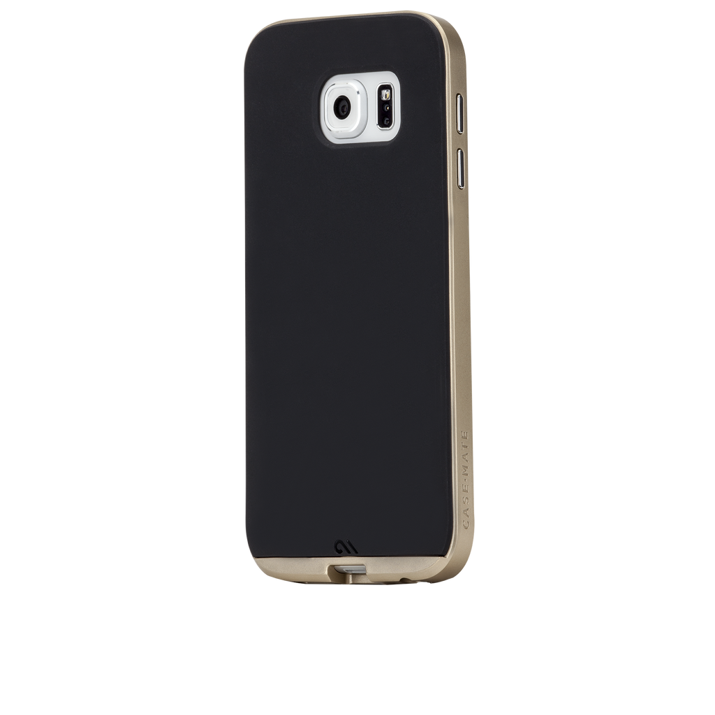Samsung Galaxy S6 Black & Gold Slim Tough Case - image angle 3