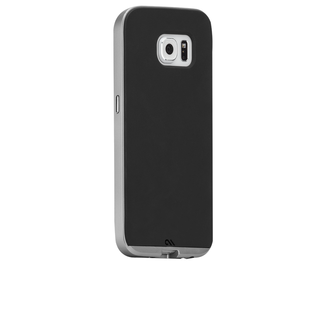 Samsung Galaxy S6 Black & Silver Slim Tough Case - image angle 1