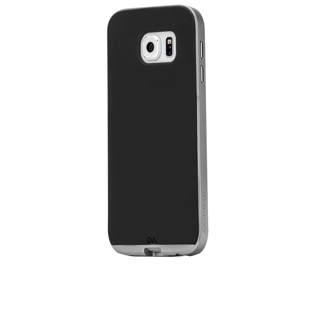 Samsung Galaxy S6 Black & Silver Slim Tough Case - image angle 3