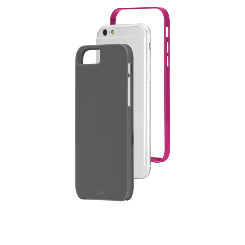 iPhone 6/6s Slim Tough Case - Titanium & Pink