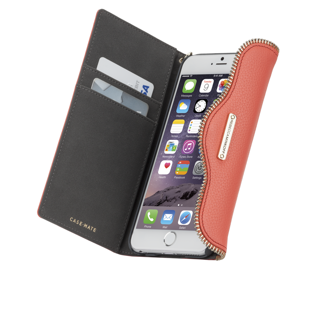 iPhone 6 Plus Coral Leather Folio Wristlet - image angle 10