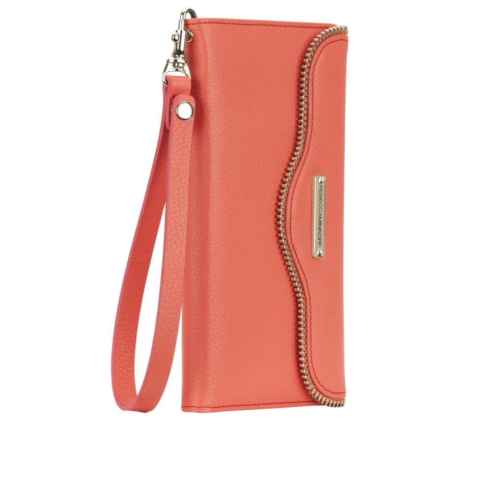 iPhone 6 Plus Coral Leather Folio Wristlet - image angle 2
