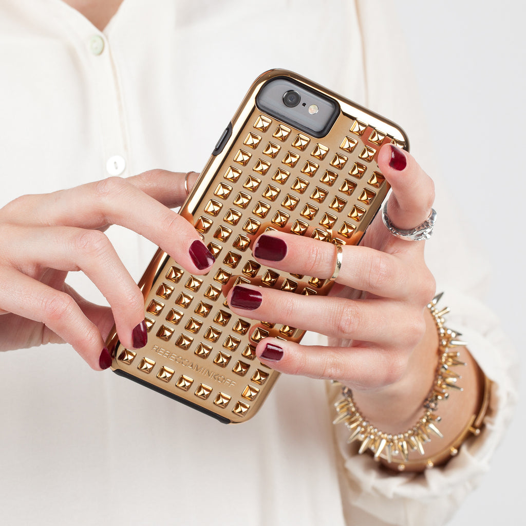 iPhone 6 Gold Studded Tough Case - lifestyle shot 1