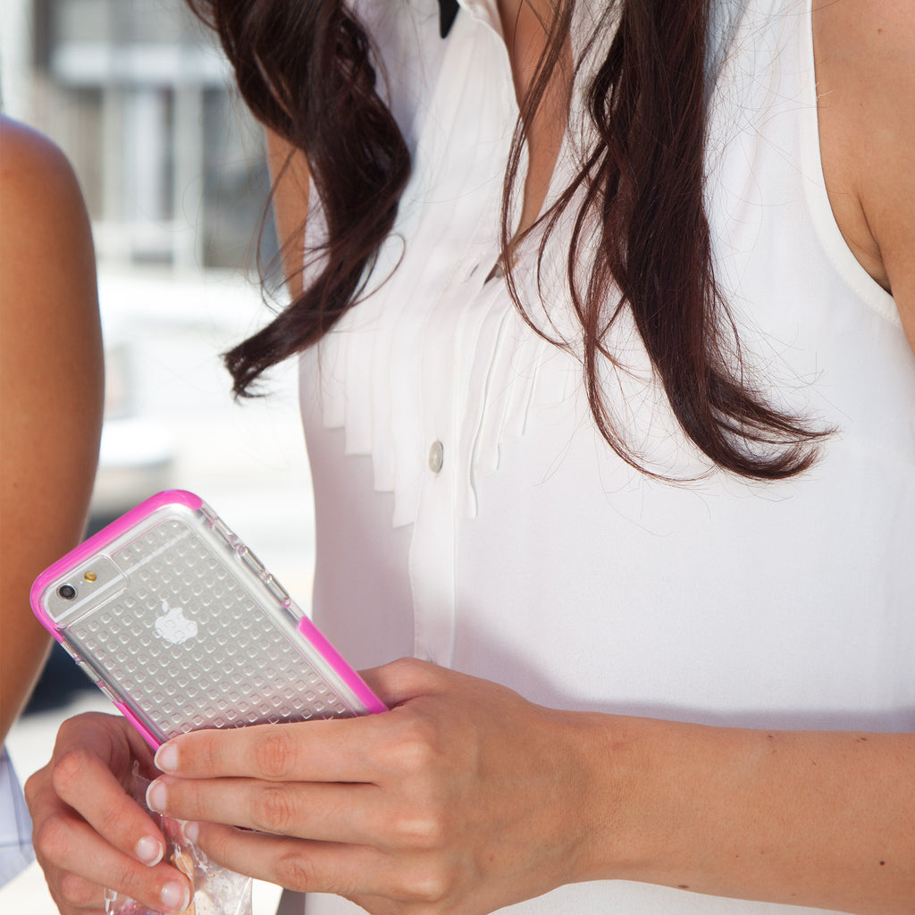 iPhone 6 Clear & Pink Tough Air Case - lifestyle angle 1